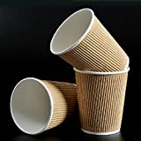 500 x 12oz / 360ml Kraft Brown Triple Walled Disposable Coffee Paper Ripple Cups
