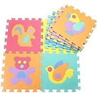 10pcs Gym Coussin puzzle Tapis bébé Tapis de jeu en mousse EVA, A02:Animals - Peluches y Puzzles precios baratos