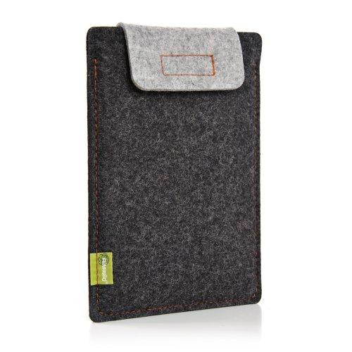 Almwild® Hülle Case iPad Pro 11 oder iPad Air/Pro 10.5 mit/ohne Smart Cover. Natur- Filz - Sleeve in Schiefergrau, Schwarz. Verschluß in Alpstein- Grau. iPad Tasche aus bayerischer Manufaktur