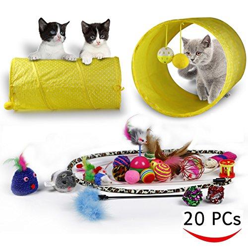 zahl Pack-Tunnel, interaktives Spielzeug Feder, Katze Feder teaser Zauberstab, flauschig Maus, Crinkle Kugeln und Glocken-20Pack Geschenk-Set für Hundewelpen, Katzen, Kitty ()