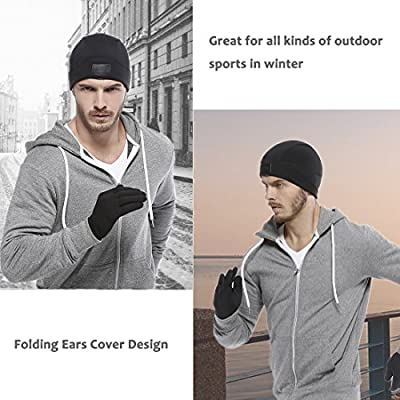Skull Cap, Aegend Warm and Soft Helmet Liner Ultimate Thermal Retention Running Beanie with Ear Covers for Men Women Youth Lightweight Windproof Hat Great for Motorcycle Snowboard Cycling Outdoors in Winter, Black from Aegend