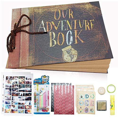 XYTMY graviert unser Abenteuer Buch, handgemachte Retro-Fotoalbum, DIY Scrapbook, Hochzeits-Fotoalbum, Gästebuch, Baby-Fotoalbum, mit Bonus-Geschenk-Box und reichlich DIY-Zubehör