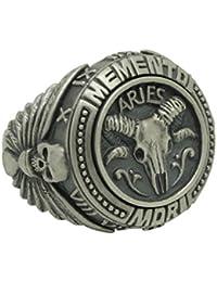 Widder Sch?del Sternzeichen Sterling Silber 925?Biker Herren Ring Horoskop Memento Mori Freimaurer