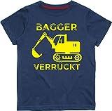 Baby & Kleinkind T-Shirt Marine 92-98 Bagger VERRÜCKT (Design 3) with Yellow Print
