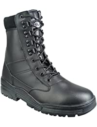 Savage Island Army Combat Boots Black Full Leather Side Zip