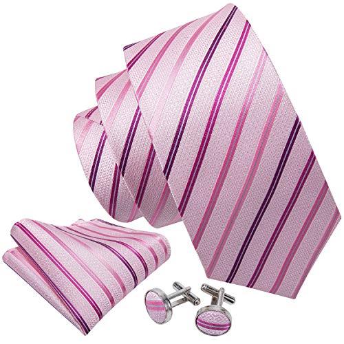 Barry.Wang Herren Krawatte Klassisches Strukturiertes Muster Seide Inklusive Einstecktuch und Manschettenknopf