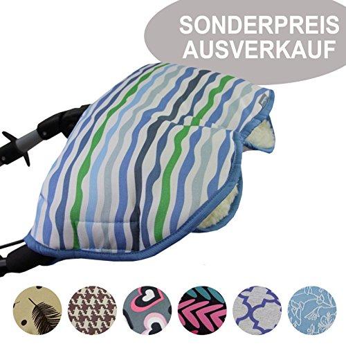BAMBINIWELT SONDERANGEBOT universaler Muff/Handwärmer für Kinderwagen, Buggy, Jogger mit Wolle AUSVERKAUF (blau grün Streifen)