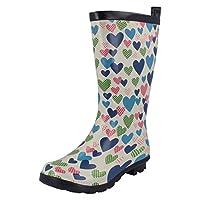 Spot On Girls Heart Print Boots