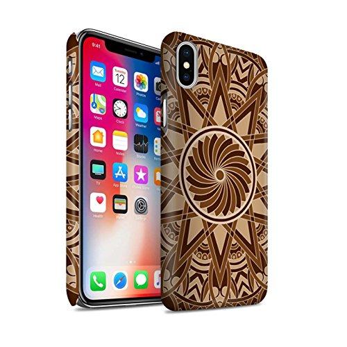 STUFF4 Matte Snap-On Hülle / Case für Apple iPhone X/10 / Blumen/Blau Muster / Mandala Kunst Kollektion Sterne/Sepia