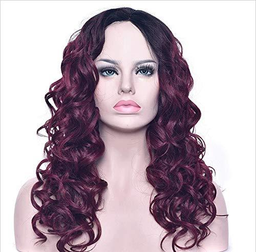 Afrikanische Roll-Joch-Perücke Gefärbt Lockly Hair Mittellange Lockly Haar Chemische Faser Schwarz Wein Roten Farbverlauf Rose Netzkopf -