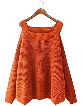 Tendencia Simple De Las Mujeres De Punto Sin Tirantes Mangas Largas Suéter Suelto