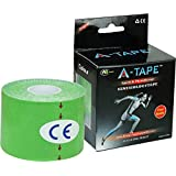 A-Tape Kinesiology Tape Knee, Calf & Thigh Support (Waterproof Spandex Cotton, Green) 5 MTR X 5 cm