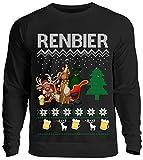 Kreisligahelden Ugly Christmas Sweater Herren Lustig Renbier - Pullover Baumwolle mit Motiv Aufdruck - Weihnachten Party Ugly Christmas Fun Saufen Bier