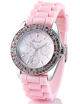 Crell Trend Watches: Quarz-Armbanduhr im Chronographen-Look mit Strass, rosa (Damenuhr)