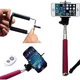 eimo Rose extensible télescopique auto-portrait Photo Selfie poche bâton Monopod avec support Adajustable Camera Phone Clipfor iPhone 5/5 s 6 6 plus de Samsung et de la télécommande sans fil Bluetooth Blanc déclencheur caméra retardateur pour IOS Android Smart-téléphone