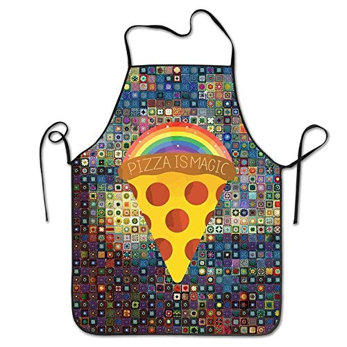 vhfnjs New Raibow Magic Pizza Bibs Chef Aprons Adjustable Women Men 100% Polyester Adult Housewife Home Commercial Apron For BBQ,Cook,Crafting,Gardening