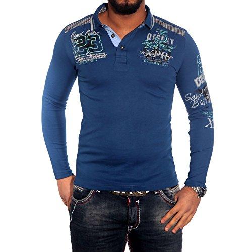 BAXBOY Herren Langarm Polo T-Shirt Poloshirt Schwarz/Weiß/Rot BB-149 Blau