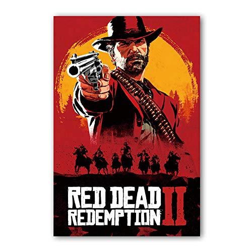 Preisvergleich Produktbild LJA Red Dead Redemption 2 Poster Action Abenteuer Videospiel abstrakte Western Cowboy Leinwand Kunst Vintage Wand Dekor Bild