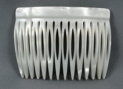 Einsteckkamm 7 cm aus Handfertigung, perlmutt-weiß mit 14 Zähnen
