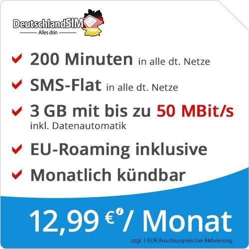 DeutschlandSIM LTE Mini SMS 3 GB [SIM, Micro-SIM und Nano-SIM] monatlich kündbar (3 GB LTE mit max. 50 MBit/s + Datenautomatik, 200 Minuten, SMS-Flat, EU-Roaming inklusive, 12,99 Euro/Monat)