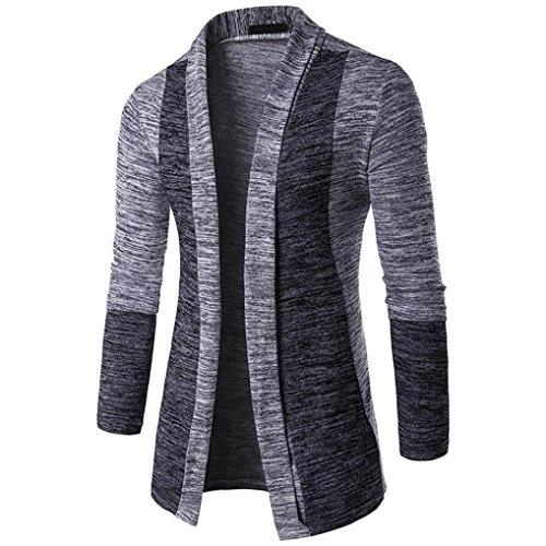 Hoodie Mantel Herren Sunday Herren Herbst Winter Pullover Strickjacke Strick Cool Mantel Mode Lange Sweatshirt (Grau, M)