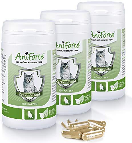 AniForte Zeckenschild für Katzen 180 Kapseln - Natürlicher Zeckenschutz, Abwehr gegen Zecken und Parasiten, Anti-Zecken Schutz, Zeckenabwehr Naturprodukt - Sparpack