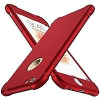 Coque iPhone 6/6S, avec [2-Pièces Protecteur D'écran En Verre Trempé] ORETech iPhone 6/6S Housse Hybride Robuste 2 en 1 Antichoc [Coussin d'Air] Ultra Mince Mat Anti-Rayures Dur PC+TPU pour iPhone 6/6S Case 4.7'' Rouge