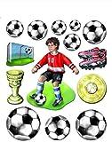 Stickerkoenig Wandtattoo 3D Sticker Wandsticker Kinderzimmer - Fußball Set mit Fußballer, Fussbälle, Pokal - Deko auch für Fenster, Schränke, Türen etc auf Bogen