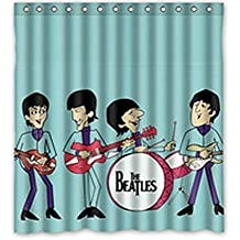 Lawrence Custom Rock Band The Beatles Waterproof Polyester Fabric Bathroom Shower Curtain With Hookstandard Size 66(W)X72(H) 66x72 inch