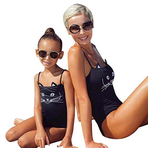 MCYs Strandkleidung Übereinstimmung Mutter Tochter Cartoon Katze Badeanzug Kleidung Drucken Ein Stück Badeanzug Tankini Hosenrock Familie Sommerkleidung Bademäntel Bikini Set (L, Mutterfarbe)