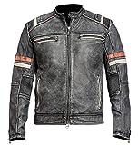 BikersGearGermany Cafe Racer Retro 2 Leder Vintage Distressed Motorradjacke Schwarz (4X-Large)