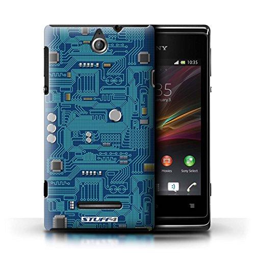 Kobalt® Imprimé Etui / Coque pour Sony Xperia E / Bleu conception / Série Circuit Board Bleu