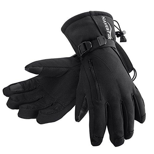 NAVESTAR Skihandschuhe Wasserdicht und Winddicht Snowboard-Handschuhe, Angenehme Warm für Herren und Damen, Schwarz, 3 Größen zur Auswahl (S)