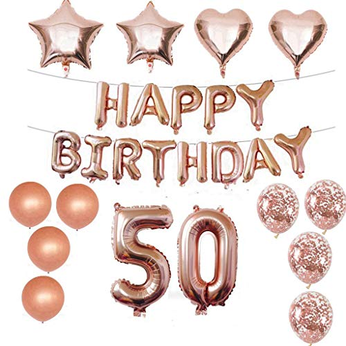 Crazy-m 50 Geburtstag Dekorationen Kit Folienballon 50 Geburtstag Dekorationen Rosegold für Mädchen Birthday Party Supplies Alles Gute zum Geburtstag Konfetti Happy Birthday 50 Buchstaben Banner, (Happy-birthday-banner 50)