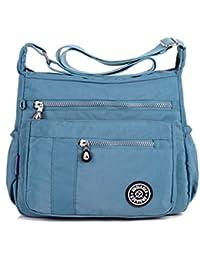 tianhengyi Mujer Ligero Nailon Bolso Bandolera Bolsa de hombro Casual Messenger Bag con cremallera bolsillos