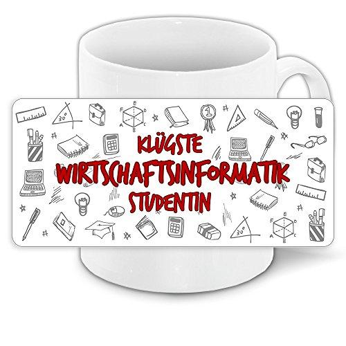 Tasse für-Studenten mit Motiv - Klügste Wirtschaftsinformatik-Studentin - | Studenten-Geschenk | Studenten-Tasse