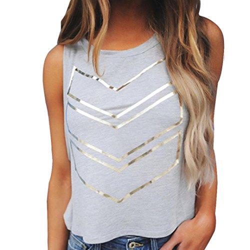 Bekleidung Longra Damen Tank-Tops Sommermode Bluse ärmellose Weste T-Shirt drucken Sweatshirt (Asian M, Gray) (Falte Cardigan Detail)