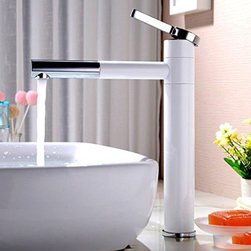 LJ Alle Bronze Schwarz Weiß Heißes Und Kaltes Waschbecken Wasserhahn Kann Drehen ( Farbe : Weiß , größe : L ) (3 8 1 4 Drehen Sie Das Ventil)