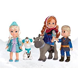 Disney Frozen Toddler Dolls Deluxe Collector Gift Set Exclusive Elsa Anna Sven Kristoff Olaf by Tolly Tots TOY (English Manual)