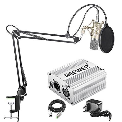 Neewer Microfono Condensatore NW 700 Alimentatore 48V Phantom NW 35 Stand Sospensione Forbici Anti vibrazione & Filtro Pop Cavo XLR Maschio Feina per