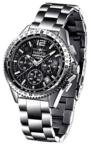 FIREFOX RACER FFS15-102b schwarz Herrenuhr Armbanduhr Chronograph massiv Edelstahl Sicherheitsfaltschliee 10 ATM Prfdruck