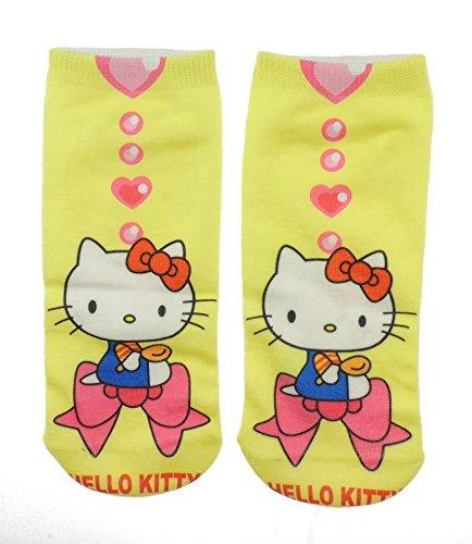 Ragazze Hello Kitty calzini alla caviglia 5-10Years- Yellow Bow and Hearts Taglia unica