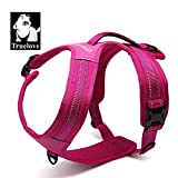 #10: PetsUp Ultra Premium Dog Harness, Walking and Car Adjustable Pet Harness with Restriction Training Pulling Handle, Padded, 3M Reflective, Front and Rear Leash Hookup, All Weather TLH5551 (Large, Fuchsia)