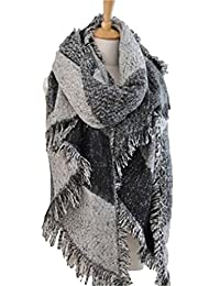 HENGSONG Femmes Epais Chaude Foulards Tempérament de Laine Couleur Stitching Grand Châle