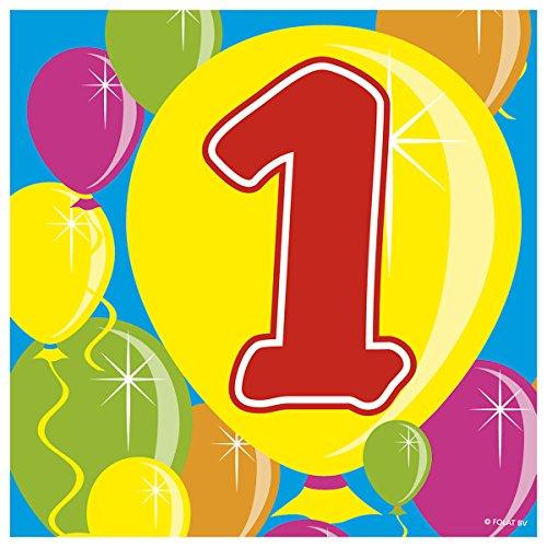 Folat Partyservietten Zahl 1 Ballondesign 20 St. Geburtstag Deko Party Servi (1 Geburtstag St)