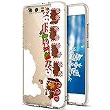 Kompatibel mit Huawei P10 Hülle,Huawei P10 Hülle Christmas,Durchsichtig Xmas Christmas Snowflake Weihnachten Schneeflocke Hirsch Klar TPU Silikon Handyhülle Schutzhülle,Schneeflocke Weihnachtszug