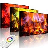 Lightbox-Multicolor | Beleuchtetes Bild | Holzkohle Feuer | 100x70 cm | Front Lighted