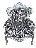 Barock Sessel 'King' Zebra/ Silber Antik Stil