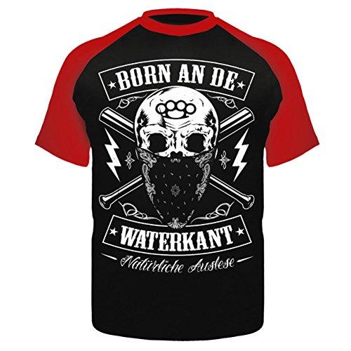 Männer und Herren T-Shirt Born an de Waterkant Schwarz/Rot