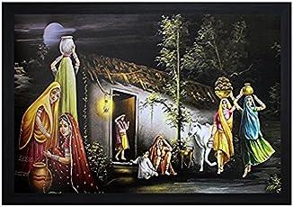 SAF Rajasthani Large Synthetic Figurative 4154 Painting (35 x 3 x 50 cms)